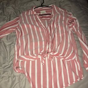 Tie front button up